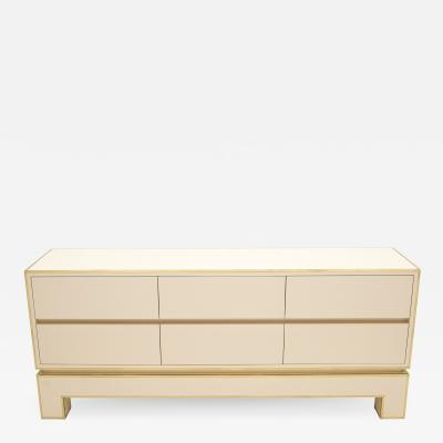 Maison Jansen Sideboard commode brass white lacquer by Alain Delon for Maison Jansen 1975