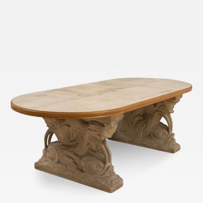 Maison Jansen Stone and Parchment Top Table