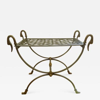 Maison Jansen Style Steel and Bronze Antique Curule Swan Stool