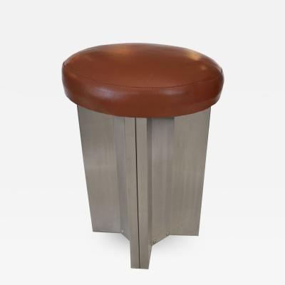 Maison Jansen Three Stainless Steel Stools by Maison Jansen