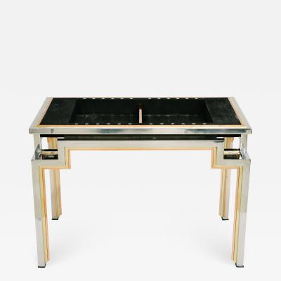 Maison Jansen Tri Metal Backgammon Table by Alain Delon for Maison Jansen