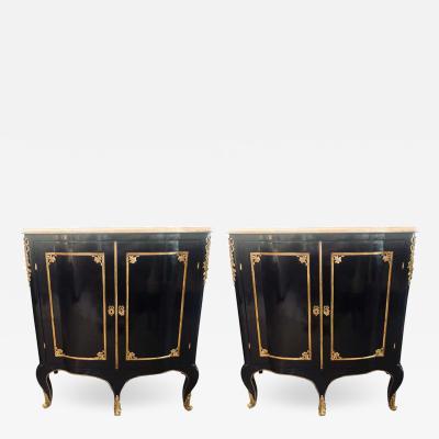 Maison Jansen Two Door Ebony Cabinets in the Manner of Maison Jansen a Pair