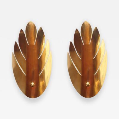 Maison Jansen Two pairs of brass leaf Mid Century Modern sconces Maison Jansen style 1970s