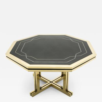 Maison Jansen Unique black lacquer and brass Maison Jansen dining table 1970s