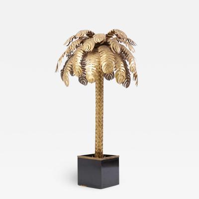 Maison Jansen Very Impressive Brass Palm Floor Lamp by Maison Jansen