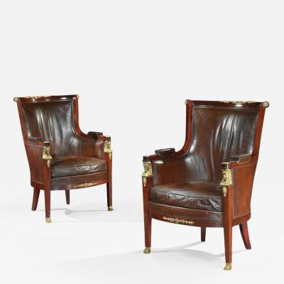 Maison Lalande PAIR OF 19TH CENTURY GILT BRONZE MOUNTED MOROCCAN LEATHERED ARMCHAIRS