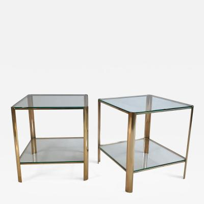 Maison Malabert Two tier pair of side tables by Maison Malabert for Jacques Quinet