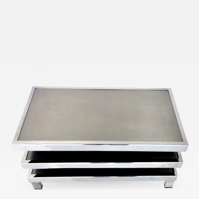 Maison Mercier Freres Stainless Steel French Pivoting Swivel Three Level Coffee Table or Side Table