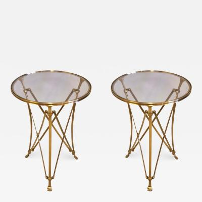 Maison Ramsay 2 French Mid Century Modern Neoclassical Style Brass End Tables Maison Ramsay