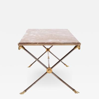 Maison Ramsay Brass Nickel and Marble Coffee Table attributed to Maison Ramsay 1960s