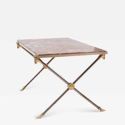 Maison Ramsay Brass and Nickel Marble Coffee Table