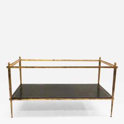 Maison Ramsay French Gilt Iron and Leather Modern Neoclassical Cocktail Table by Maison Ramsay