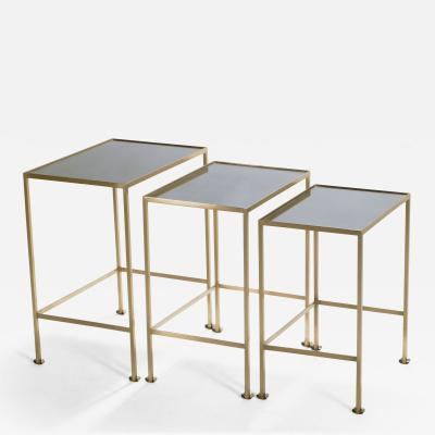 Maison Ramsay French Maison Ramsay brass nesting tables 1960s