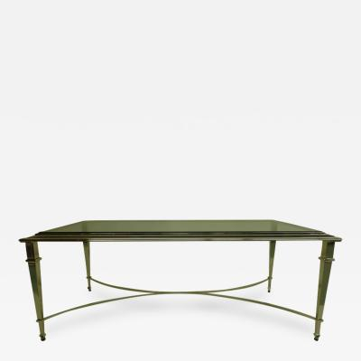 Maison Ramsay French Modern Neoclassical Polished Nickel and Glass Coffee Table Maison Ramsay