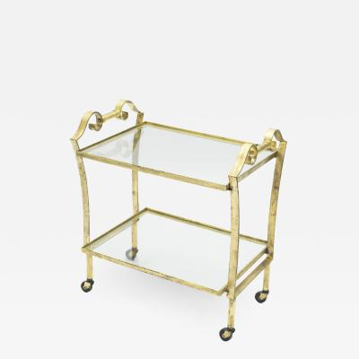 Maison Ramsay French neoclassical Maison Ramsay gilded iron bar cart 1940s