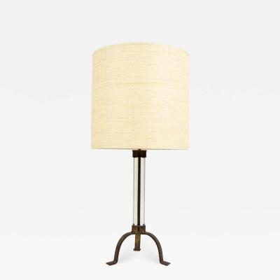 Maison Ramsay Gild wrougt iron and glass lamp by maison Ramsay