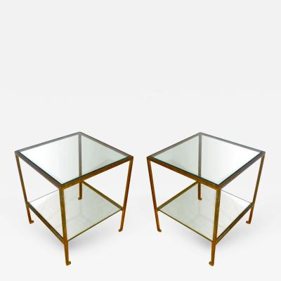 Maison Ramsay Maison Ramsay Design Pair of Two Tiers Gold Leaf Wrought Iron Tables