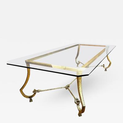 Maison Ramsay Maison Ramsay Rare Very Long Coffee Table in Gold Leaf Wrought Iron