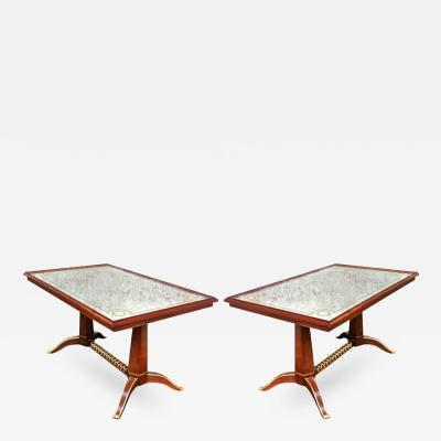 Maison Ramsay Maison Ramsay Superb Pair of Dining Tables with Superb Refined Gold Bronze