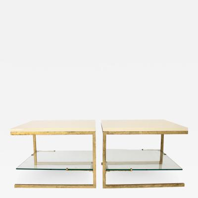 Maison Ramsay Pair of Cream Lacquered Top Gilded Iron Frame Work Maison Ramsay Side Tables