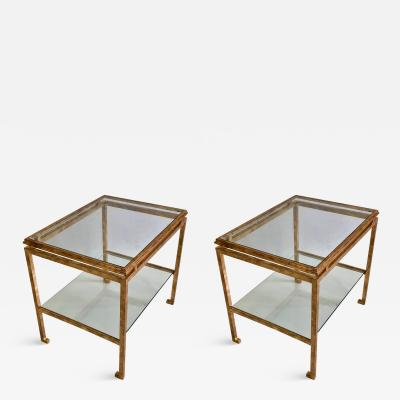 Maison Ramsay Pair of French Mid Century Modern Gilt Iron Side End Tables by Maison Ramsay