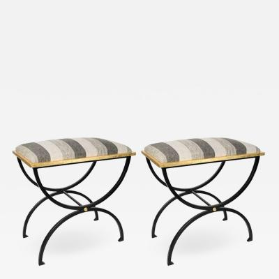 Maison Ramsay Pair of wrought iron Stools By Maison Ramsay
