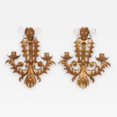 Maison Ramsay Venise carnival themed unusual sconces France 1960s