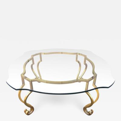 Maison Ramsay Wrought Iron French Gilt Coffee Table Attributed to Maison Ramsay