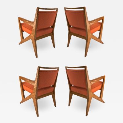 Maison Raphael rarest set of 4 oak arm chairs