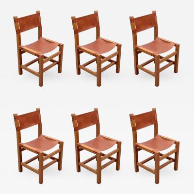 Maison Regain Set of Six Solid Elm Dining Chairs by Maison Regain France 1970s
