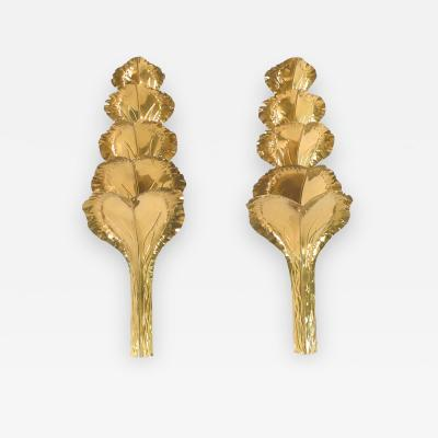 Maison Romeo French Large pair of brass sconces by Maison Romeo 1970s