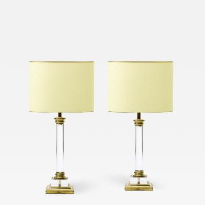 Maison Romeo Maison Romeo Paris pair of Lucite and gold brass neo classic revival lamps