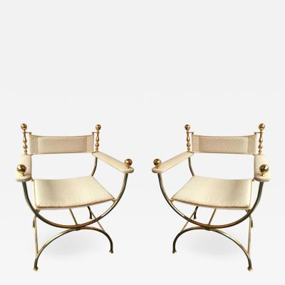 Maison Romeo Pair of Brass Neo Classical Curul Armchairs by Romeo France 1980s