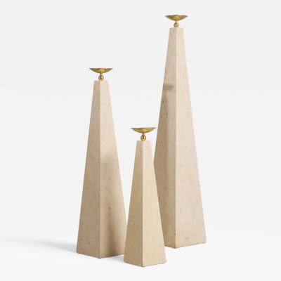 Maitland Smith A Set of Three Maitland Smith Stone Veneered Obelisks 1980s