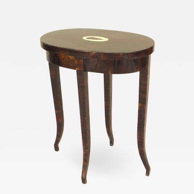 Maitland Smith French Faux Tortoise Shell Oval End Table