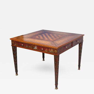 Maitland Smith Mahogany Game Table with Play Boards