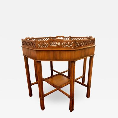 Maitland Smith Maitland Smith Bamboo Form Octagon Shaped End Lamp Table with Bevelled Glass