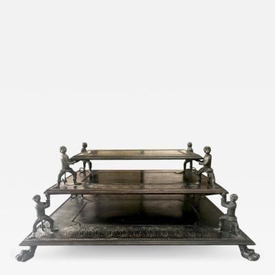 Maitland Smith Maitland Smith Fantastic 3 Tier Bronze Coffee Table with Monkeys and Lion Feet