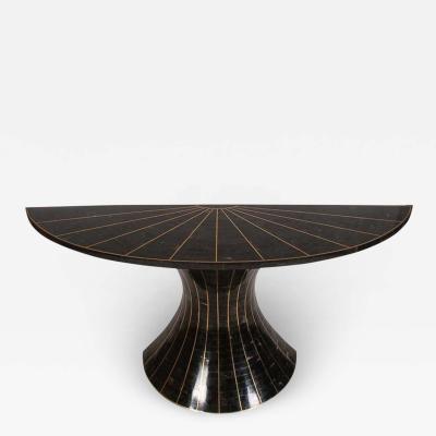 Maitland Smith Maitland Smith Mid Century Modern Tessellated Stone Black Marble Console Table