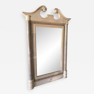 Maitland Smith Maitland Smith Tropical NeoClassical Bamboo Rattan Split Reed and Stone Mirror