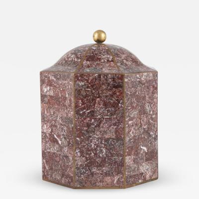 Maitland Smith Maitland Smith octagonal marble lidded box with brass inlays circa 1980s