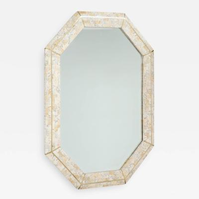 Maitland Smith Maitland Smith octagonal tessellated stone and inlaid brass mirror