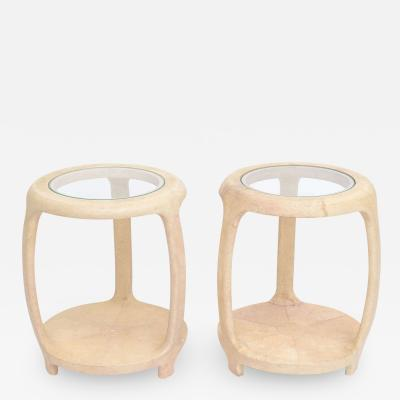 Maitland Smith Pair of American Modern Shagreen and Glass Side Tables by Maitland Smith