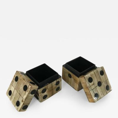 Maitland Smith Pair of Maitland Smith Tessellated Camel Bone Dice Boxes