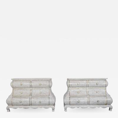 Maitland Smith Pair of Maitland Smith Tessellated Marble Bombe Chests