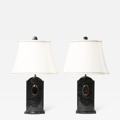 Maitland Smith Pair of Maitland Smith Tessellated Stone Lamps circa 1980s