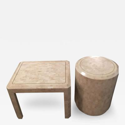 Maitland Smith Pair of Mid Century Modern Tessellated Fossill w Inlaid Brass Band Side Tables