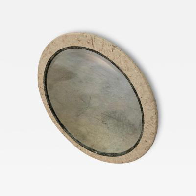 Maitland Smith Postmodern Round Maitland Smith Two Tone Marble and Travertine Beveled Mirror