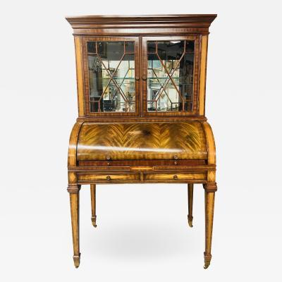 Maitland Smith Regency Style Maitland Smith Flame Mahogany Burl Two Part Secretary Desk