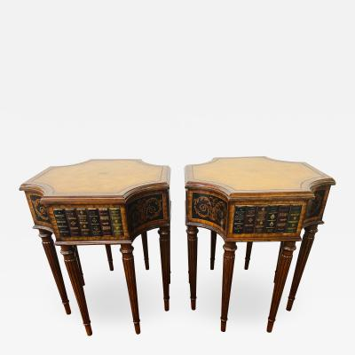 Maitland Smith Regency Style Maitland Smith Mahogany and Leather Library Book Table a Pair